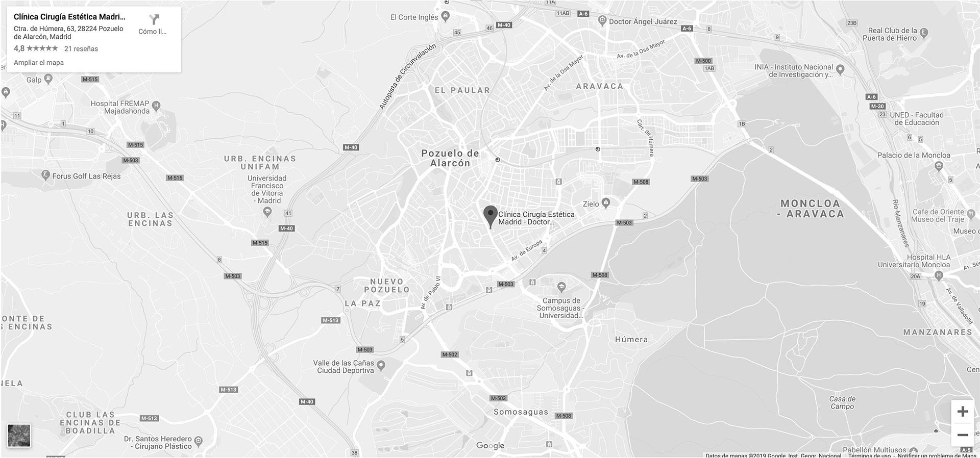 ¿Cómo llegar a la Clínica de Cirugía Estética del Doctor Granado Tiagonce en Madrid? Utiliza nuestro mapa.